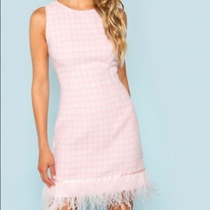SHEIN Pink knit dress with feather detail